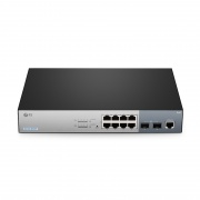 S3150-8T2FP Switch PoE+, 8 puertos RJ45 10/100/1000 Mbps, 2 enlaces ascendentes SFP 1Gb, 150W, sin ventilador - administrable