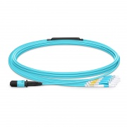 Customized 8/12 Fibers MPO-12 OM3 Multimode Breakout Cable