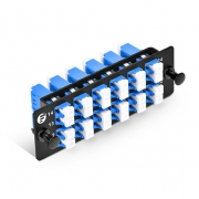 Fiber Adapter Panel with 12 LC Duplex OS2 Single Mode Adapters (Blue), Zirconia Ceramic
