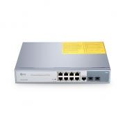 Управляемый PoE+ Коммутатор Уровня 2+ с 8 Портами 10/100/1000Base-T и и 2 SFP Слотами, PoE IEEE 802.3af/at (30 Вт), PoE Бюджет 130 Вт