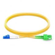 Cable de fibra óptica monomodo insensible a la curvatura, 9/125 OS2 LC UPC a SC APC dúplex G.657.A1 1m