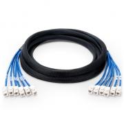 15m (49ft) 6 Jack to 6 Jack Cat5e Unshielded PVC CMR (Blue) Pre-Terminated Copper Trunk Cable