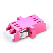 LC/UPC to LC/UPC 10G Multimode OM4 Duplex SC Type with Flange Plastic Fiber Optic Adapter, Violet