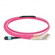 1m (3ft) MTP Female to 6 LC UPC Duplex 12 Fibers Type A LSZH OM4 (OM3) 50/125 Multimode Elite Breakout Cable, Magenta