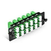 Fiber Adapter Panel with 12  LC APC Duplex OS2 Single mode Adapters (Green), Zirconia Ceramic