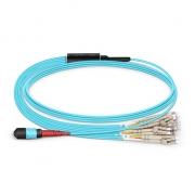10m (33ft) MTP Female to 12 LC UPC Duplex 24 Fibers OM4 (OM3) 50/125 Multimode Breakout Cable, Type B, LSZH, Aqua