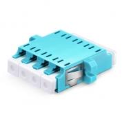 LC/UPC to LC/UPC 10G Multimode OM3 Quad with Flange Plastic Fiber Adapter, Aqua