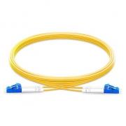 2m (7ft) Grade B LC UPC to LC UPC Duplex PVC (OFNR) OS2 Single Mode BIF Fiber Patch Cable, Typical 0.12dB IL