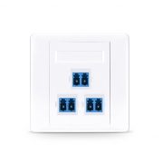 3-Port LC Duplex UPC OS2 Single Mode Fiber Optic Wall Plate Outlet, Straight