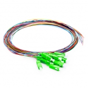 1m (3ft) 12 Fibers SC/APC 9/125 Single Mode Color-Coded Fiber Optic Pigtail, Unjacketed
