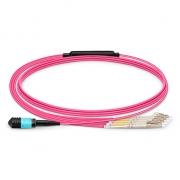 5m (16ft) MPO Female to 4 LC UPC Duplex 8 Fibers OM4 (OM3) 50/125 Multimode Breakout Cable, Type B, Elite, LSZH, Magenta