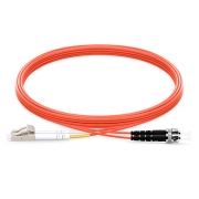 2m (7ft) LC UPC to ST UPC Duplex 2.0mm PVC (OFNR) OM2 Multimode  Fiber Optic Patch Cable