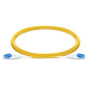 Cable de conexión de fibra, PVC(OFNR) 1m (3ft) LC UPC a LC UPC dúplex 2.0mm OS2 monomodo uniboot BIF