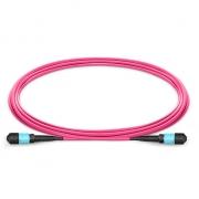 Cable Troncal de Fibra Óptica OM4 50/125 Multimodo MTP - MTP 12 Fibras tipo B, élite, Plenum (OFNP) 1m - Magenta