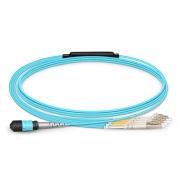 Cable Breakout de Fibra Óptica OM4 50/125 Multimodo MTP hembra a 4 LC UPC Dúplex 8 Fibras OM4 50/125 Multimodo Tipo B, LSZH 1m - Azul Aguamarina