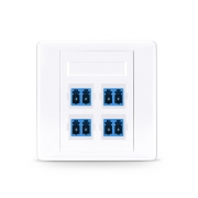 4-Port LC Duplex UPC OS2 Single Mode Fiber Optic Wall Plate Outlet, Straight