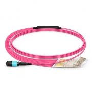 Cable Breakout de Fibra Óptica OM4 (OM3) 50/125 Multimodo MPO hembra a 6 LC UPC Dúplex 12 Fibras Tipo A Élite LSZH 1m - Magenta