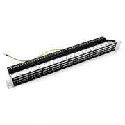 High Quality 24 Ports Cat6  Shielded Feed-Through Patch Panel,1U Rack Mount