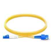 2m (7ft) Grade B LC UPC to SC UPC Duplex PVC(OFNR) OS2 Single Mode BIF Fiber Patch Cable, Typical 0.12dB IL