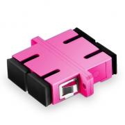 SC/UPC to SC/UPC 10G Duplex Multimode OM4 Plastic Fiber Optic Adapter/Mating Sleeve with Flange, Violet