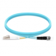 2m (7ft) LC UPC to ST UPC Duplex 2.0mm PVC(OFNR) OM4 Multimode  Fiber Optic Patch Cable