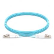 Jumper de fibra óptica 2m (7ft) LC UPC a LC UPC dúplex OM4 blindado PVC (OFNR)