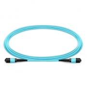 5m (16ft) MPO Female to MPO Female 12 Fibers OM3 50/125 Multimode Trunk Cable, Type B, Elite, LSZH, Aqua