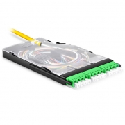 Ultra High Density Splice Cassette, 12 Fibers OS2 Single Mode, LC/APC Quad, Pre-loaded Color-corded Pigtail