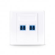 2-Port LC Duplex UPC OS2 Single Mode Fiber Optic Wall Plate Outlet, Straight