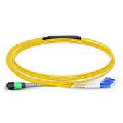 1m (3ft) MTP Female to 4 LC UPC Duplex 8 Fibers Type B Plenum (OFNP) OS2 9/125 Single Mode Elite Breakout Cable, Yellow