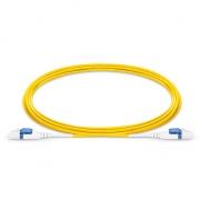 2m (7ft) LC UPC Uniboot Duplex Flat Clip 2.0mm OS2 Single Mode BIF Fiber Patch Cable, PVC (OFNR)