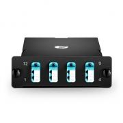 MTP-8 MTP/MPO Breakout Cassette, 8 Fibers OM4, LC Duplex, 40G/100G to 10G/25G