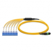 1m (3ft) MTP Female to 6 LC UPC Duplex 12 Fibers Type A LSZH OS2 9/125 Single Mode  Elite HD BIF Breakout Cable, Yellow