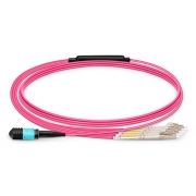 2m (7ft) MPO Female to 4 LC UPC Duplex 8 Fibers OM4 (OM3) 50/125 Multimode Breakout Cable, Type B, Elite, LSZH, Magenta