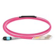 8 Fibres MTP Female to 4 LC UPC Duplex OM4 (OM3) Multimode Breakout Cable, Type B, Elite, Plenum (OFNP), Magenta, 1m