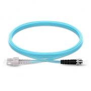 2m (7ft) SC UPC to ST UPC Duplex 2.0mm PVC(OFNR) OM4 Multimode  Fiber Optic Patch Cable