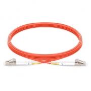 2m (7ft) LC UPC to LC UPC Duplex 2.0mm PVC (OFNR) OM1 Multimode  Fiber Optic Patch Cable