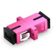 SC/UPC to SC/UPC 10G Simplex Multimode OM4 Plastic Fiber Optic Adapter/Mating Sleeve with Flange, Violet