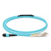 Cable Breakout de Fibra Óptica OM3 50/125 Multimodo MPO hembra a 4 LC UPC Dúplex 8 Fibras Tipo B Élite LSZH 1m - Azul Aguamarina