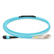 8 Fibres MPO to 4 LC Duplex OM3 Multimode Breakout Cable, Type B, 3m