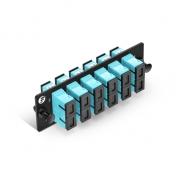 Fiber Adapter Panel with 6 SC Duplex OM3/OM4 Multimode Adapters (Aqua), Zirconia Ceramic