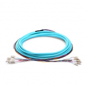 12 Fibers LC/SC/FC/ST OM3 Multimode Indoor Tight-Buffered Multi-Fiber Breakout Cable
