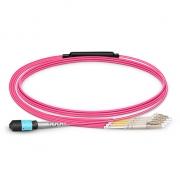 2m (7ft) MTP Female to 4 LC UPC Duplex 8 Fibers OM4 (OM3) 50/125 Multimode Breakout Cable, Type B, Elite, Plenum (OFNP), Magenta