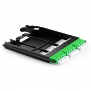 Ultra High Density Fiber Adapter Panel with 3 LC APC Quad OS2 Singlemode Adapters (Green), Zirconia Ceramic