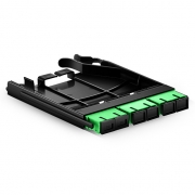 Ultra High Density Fiber Adapter Panel with 3 SC APC Duplex OS2 Singlemode Adapters (Green), Zirconia Ceramic
