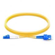 2m (7ft) LC UPC to SC UPC Duplex 2.0mm PVC(OFNR) OS2 Singlemode Bend Insensitive Fiber Patch Cable
