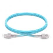 Jumper de fibra óptica 2m (7ft) SC UPC a SC UPC dúplex OM4 blindado PVC (OFNR)