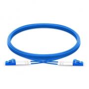 Jumper de fibra óptica 2m (7ft) LC UPC a LC UPC dúplex monomodo blindado PVC (OFNR)