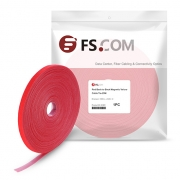25m/Roll 1000in.L x 0.48in.W Back to Back Magnetic Velcro Cable Tie-Red