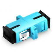 SC/UPC to SC/UPC 10G Multimode OM3 Simplex Plastic Fiber Optic Adapter, Aqua